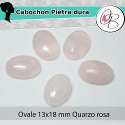 Cabochon Ovale Pietra dura 13X18mm Quarzo Rosa
