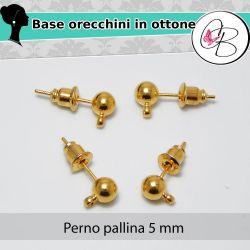 3 Paia perno per orecchini in ottone dorato pallina 5 mm con asola