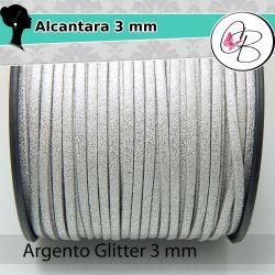 1 Mt alcantara col.Argento riflessi glitter  3 mm spessore 1,5