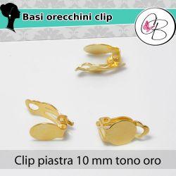 5 paia  Base orecchini perno clip 10mm tono oro BIGIOTTERIA