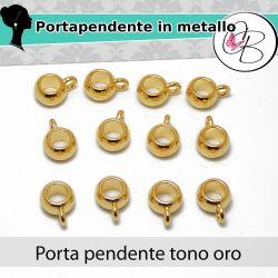 10 Pz Gancio  portapendente 9x5 mm metallo tono oro