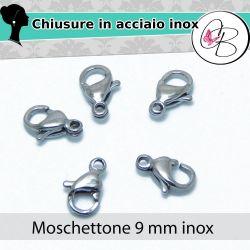 5 Pz Chiusura moschettone pappagallo 9 mm in acciaio inossidabile 304l