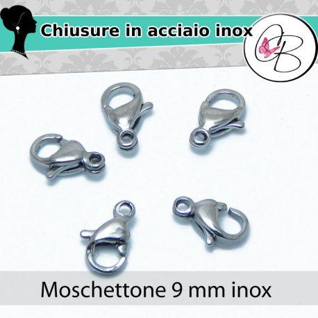 chiusura moschettone 9MM in acciaio inossidabile -5PZ