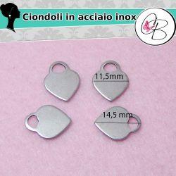 4 Pz Ciondolo charms Cuore Tif,  Acciaio inossidabile, 14mm