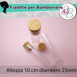 Provetta in vetro tappo in sughero 10 cm diametro 25mm Bomnboniere