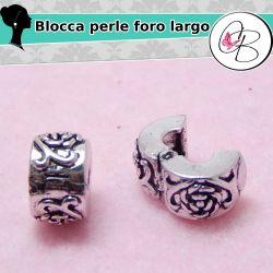 Blocca perla foro largo Rosa in metallo tono antico