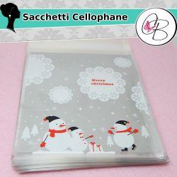 """Sacchetto regalo cellophane Adesivo """"Merry Christmas""""Pinguini"""