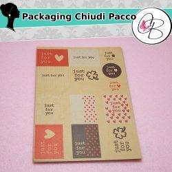 """2 Fogli Etichette Chiudi pacco adesive """"Just for you"""" 26 etichette"""