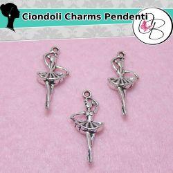 10 Pz Ciondolo Charms Ballerina in metallo argentato antico 29 mm