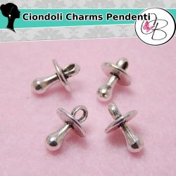 10 Pz Charms Ciondolo Ciuccio 13x10mm in metallo tono argento antico