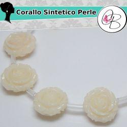 Perla doppia 3 d Rosa in corallo sintetico panna 16mm