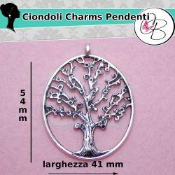 Maxi Ciondolo intaglio Albero 54mm tono argento antico