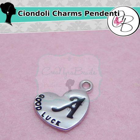 Charms ciondolo lettera a cuore specchio 13x18 mm - Specchio a cuore ...