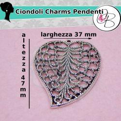 Ciondolo  Foglia Cuore Filigranata 47x37mm argento antico