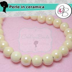 Perla Sfera Giallo in ceramica fatta a mano smaltata 14 mm