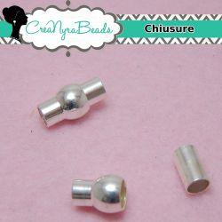 Chiusura magnetica cilindro Ø 5 mm tono argento