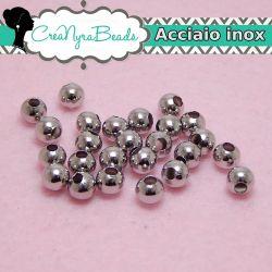 25 pz Sfera Perla in Acciaio inossidabile Ø 6 mm