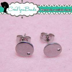 1 Paio Perno per orecchini cuoricino in acciaio inossidabile + retro