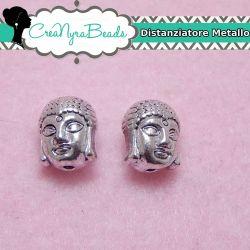 Distanziatore Testa Buddha 11x9mm in metallo tono argento antico 3d