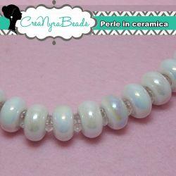 4 Pz Perla Foro largo Bianco in ceramica senza rivetti 13x8 mm