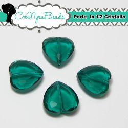 Perla Cuore Smeraldo in mezzo cristallo sfaccettato 16 mm
