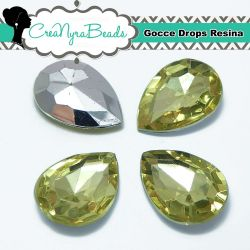 10 Pezzi Cabochon Gocce in Resina 13x18mm Jonquil
