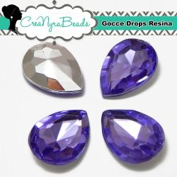 10 Pezzi Cabochon Gocce in Resina 13x18mm Violet
