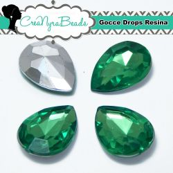 10 Pezzi Cabochon Gocce in Resina 13x18mm Fern Green