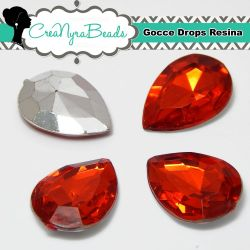 10 Pezzi Cabochon Gocce in Resina 13x18mm Rosso