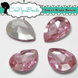 10 Pezzi Cabochon Gocce in Resina 13x18mm Rosa