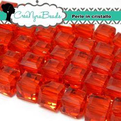 Perla Cubo mezzo cristallo 10 mm Light Siam - 5 pezzi