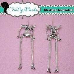 Base per corpo bambola fatina 120x20mm in metallo argento antico