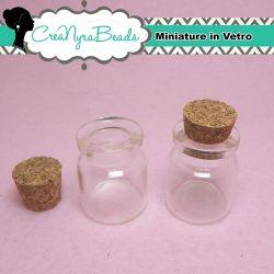 20 Pezzi Bottiglietta in vetro tappo in sughero 22x27 mm