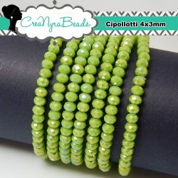 50 pz Rondella briolette mezzo cristallo Verde Mela ab 4x3 mm