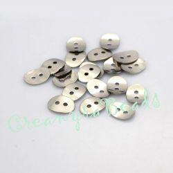 4 Pz Bottone in acciaio inossidabile ovale 14x10 mm