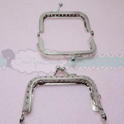 Chiusura clic clac per portamonete pochette rettangolare tono platino 7 cm