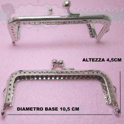 Chiusura clic clac  Telaio per portamonete pochette rettangolare tono platino 10,5cm