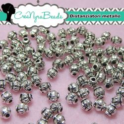 100  Pz Perla Separatore mongolfiera 4 mm in metallo argento antico