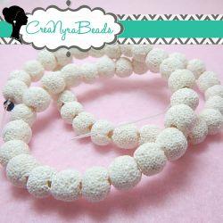 10 Pz  Perle pietra lavica 8mm bianco