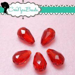 5 Pz Goccia in cristallo Briolette Rosso 15x10 mm