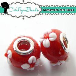 Perla lampwork Rosso fiore bianco con foro largo 15x10mm