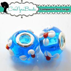 Perla lampwork Azzurro fiore bianco con foro largo 15x10mm