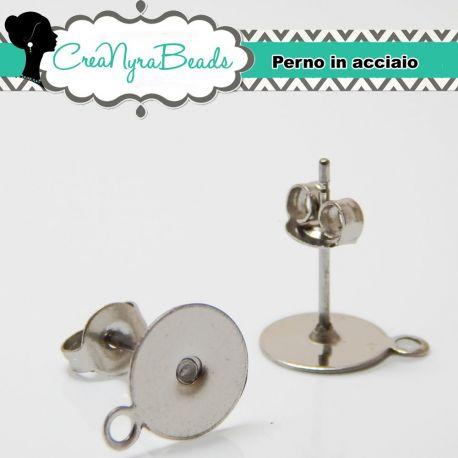 10 Pz  Perno orecchini piastra con anellina in acciaio inox anallergiche