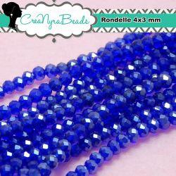 150 pz 1 Filo Rondella briolette mezzo cristallo Blu Pearl Luster 4x3 mm