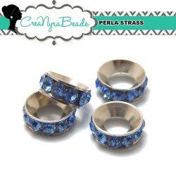 Maxi Rondella Strass Sapphire in metallo 11x4mm foro 5mm
