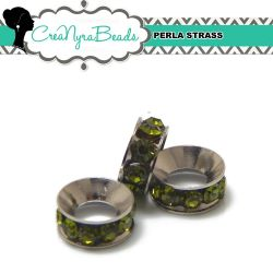 Maxi Rondella Strass Verde Oliva in metallo 11x4mm foro 5mm