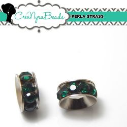 Maxi Rondella Strass Verde smeraldo in metallo 11x4mm foro 5mm