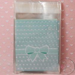 20 Pezzi Sacchetto regalo cellophane Adesivo Fiocco  tono Tiffany pois bianco
