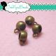 10 Pz Perla  portapendente con anellina per charms in metallo tono bronzo 11 mm