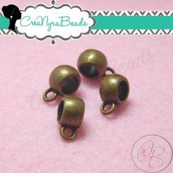 10 Pz Perla  porta pendente con anellina per charms in metallo tono bronzo 11 mm